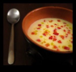 Zuppa con peperoni e porri