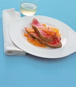 Tranci di tonno croccanti con salsa al mandarino