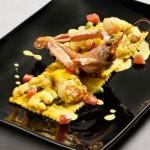 |⇨ Ravioli di piselli agli scampi e curry