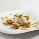  ⇨ Bocconcini di pollo al curry e frutti tropicali, servito con risotto alle erbe aromatiche