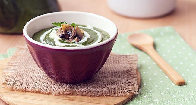 Crema di spinaci ai funghi