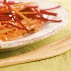 Guazzetto di carota, barbabietola e salsa di noci
