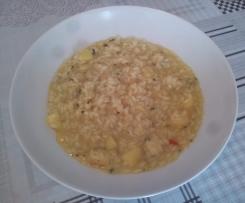 Risotto ai porri, mele, scamorza, curry e zenzero