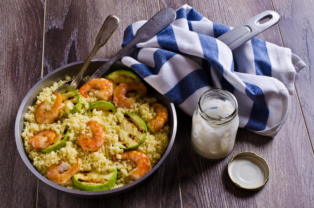 Cous cous con gamberi e zucchine