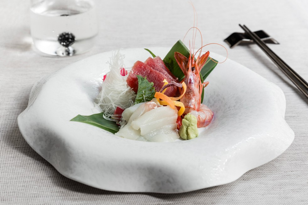Sashimi di tonno, dentice e gamberi