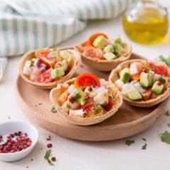 Cestini di taco con gamberi marinati